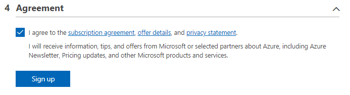 Microsoft Azure Free account sign up agreement